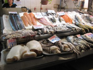 Catch of the day at the Mercado Central in Santiago