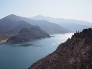The dam in Elqui Valley-- only 4% full due to drought