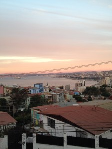 Valparaiso at sunset from our balcony