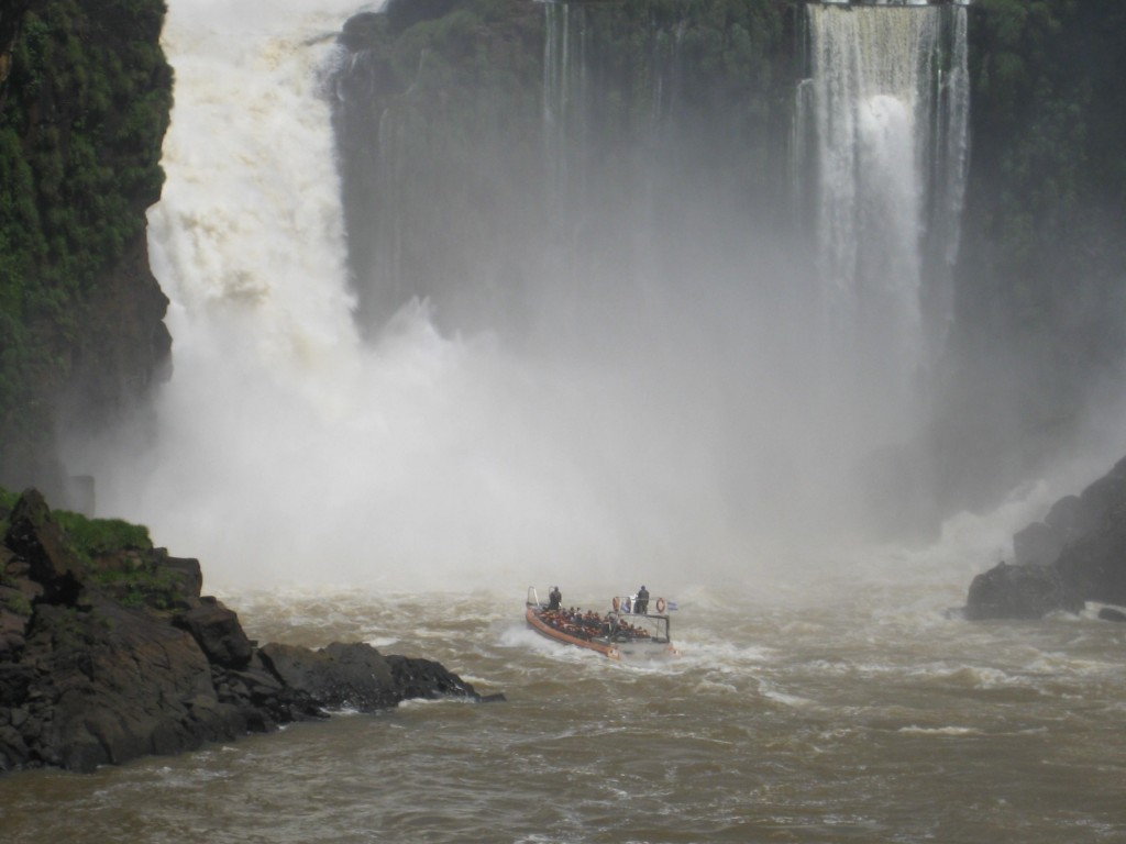 One of the speedboats racing into the falls