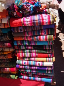 In Humahuaca, as everywhere else in northeastern Argentina, there were plenty of textiles for sale in the local market.