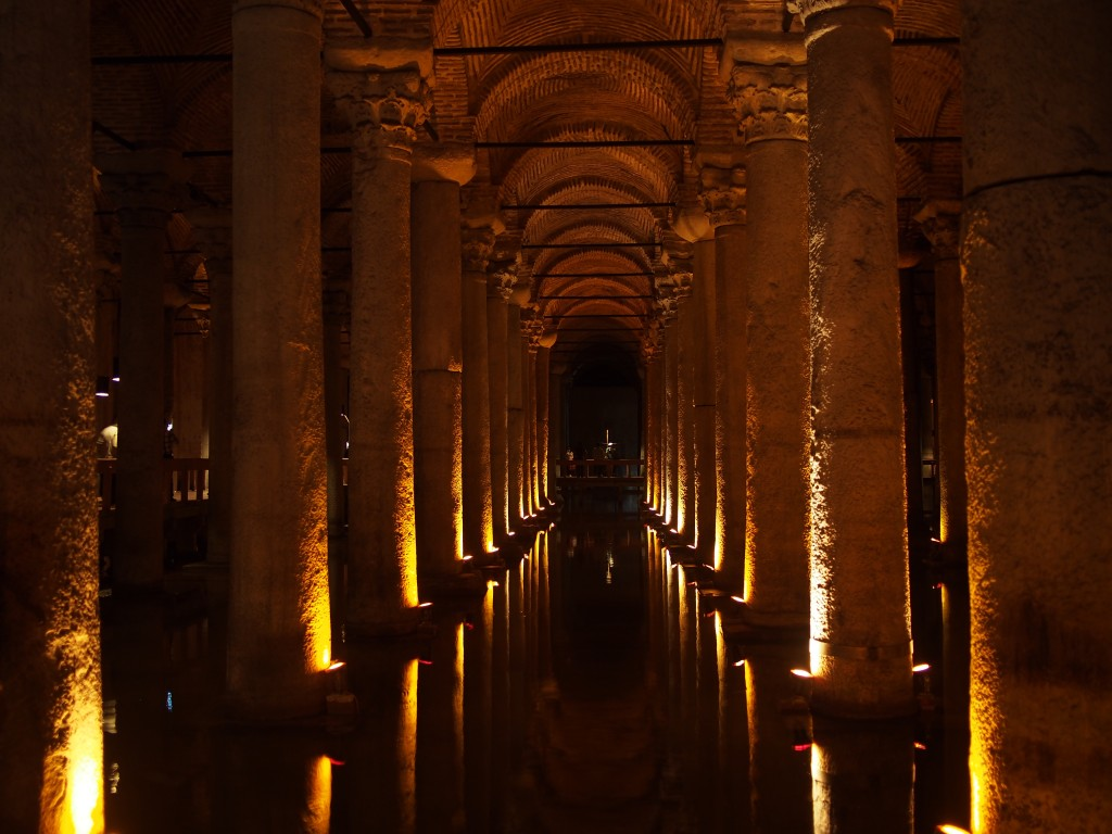 Basilica Cistern-- once used as a body dump, now home to some creepy fish