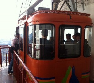 Arial tram car at the summit of Monserrate