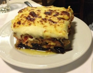 Moussaka (layered eggplant, potato and meat deliciousness) at Leventis