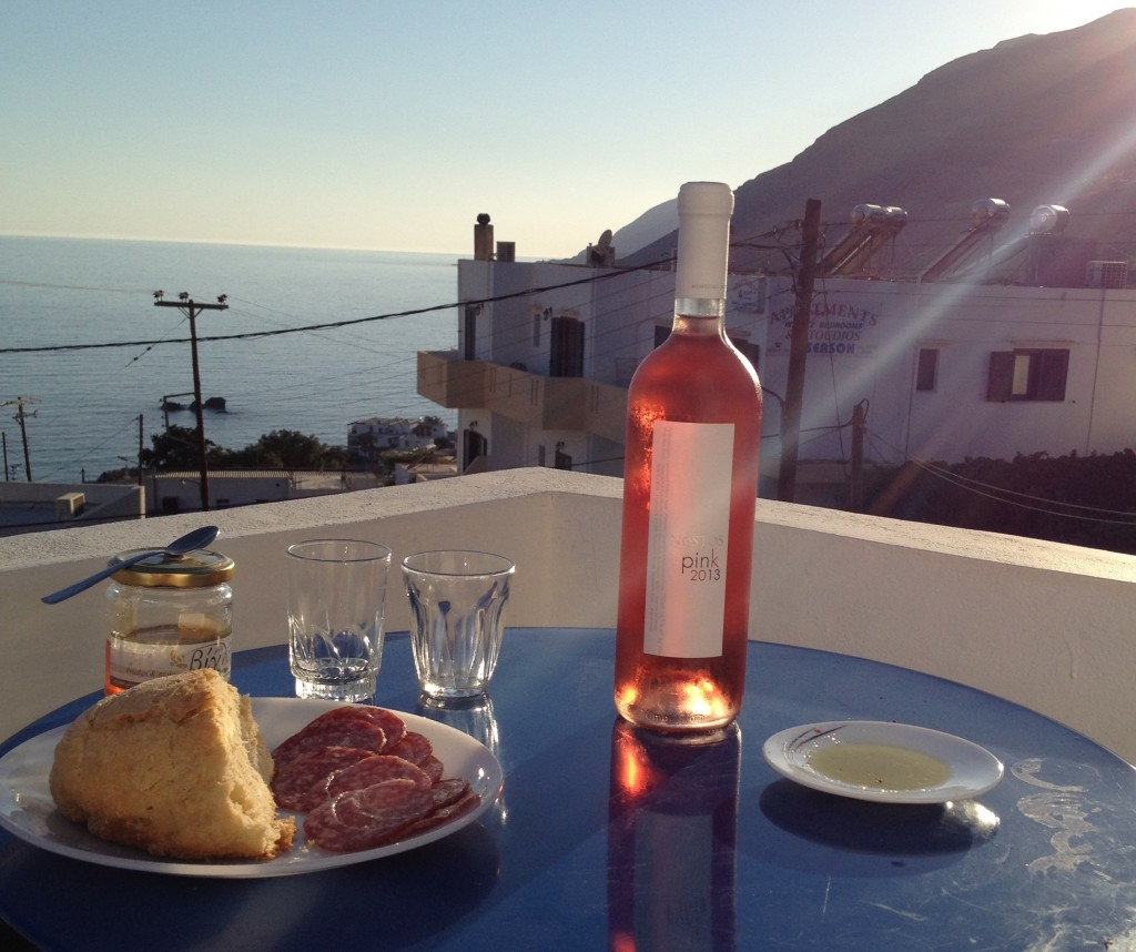 Early evening snacks, with Cretan honey, cured meat, olive oil, bread, and of course wine