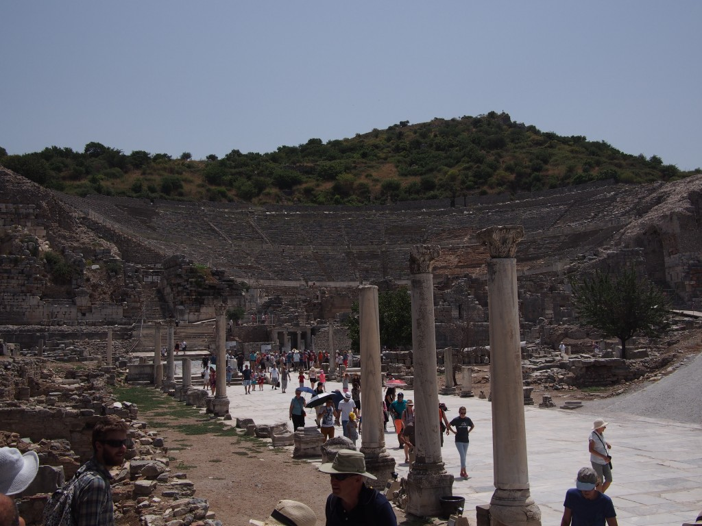 Unearthed marble street with restored pillars