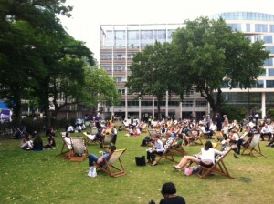 Lunchtime crowd in a London park