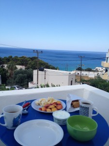 Breakfast is served-- this one overlooking the ocean in Chora Sfakion