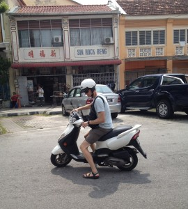 Me on our trusty scooter
