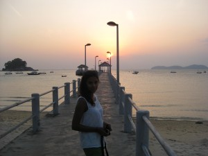 Rachel on the Salang jetty at sunset