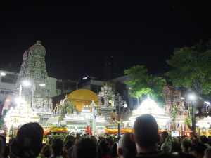 Parade of shrines with the main temple in the background