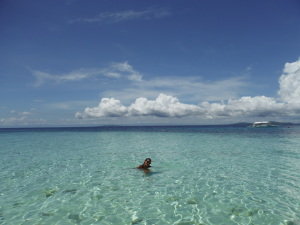 Lunch time on Pamilican Island-- grilled fish and a swim break